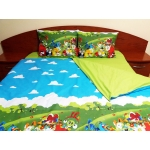 Lenjerie de pat Angry Birds Duo Green, calitate I, cod Angry_VV_MA