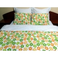 Lenjerie de pat bumbac ranforce Funny Flowers Duo-W, King Size, calitate I, cod FF_MU_White