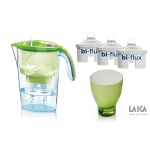 SET Cana filtranta Laica Stream + 3 cartuse Bi-Flux + pahar colorat J998